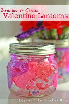Valentine Lanterns Process Art Activity for Preschool