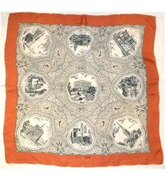 Vintage Norwich Commemorative Silk Scarf in Rust and Cream with hand rolled edges How To Make Scarf, Hand Accessories, Hand Roll, Clothes Horse, Screen Printing, Rust, Vintage World Maps, Hands, Quilts
