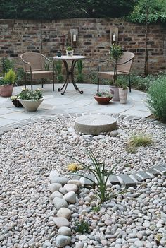 Rocks looking back to the circular patio