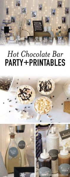This hot chocolate bar party is the perfect winter party idea! Complete with FREE chalkboard labels, recipe cards, and lots of DIY hot chocolate bar ideas. #hotchocolatebar #partyidea #winterparty #freeprintable