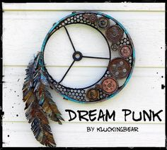 Another Eleventh Hour Challenge Entry for SanDee & Amelie's Steampunk Challenge June Challenge: Shades of Grey, Blue and Rust . Crafts To Make, Fun Crafts, Arts And Crafts, Clay Pot Crafts, Shell Crafts, Dream Catcher Craft, Dream Catchers, Craft Projects, Projects To Try