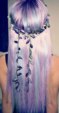 Pastel blue and violet hair