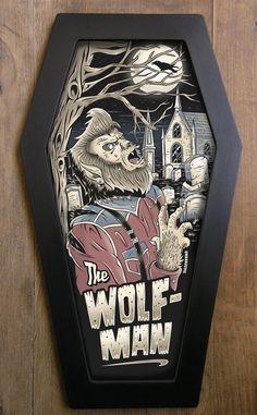 The Wolf Man coffin framed print.