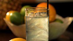 Violet Gin Fizz:  1 ½ ounces gin 1 ouch lemon juice ½ crème de violette ½ tsp. fine sugar soda water