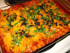 Hot and bubbly and amazingly delicious! These beef enchiladas are from The Pioneer Woman on Food Network.