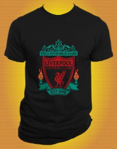 Liverpool Football Club Logo Black TShirt size S  by vintagecenter, $23.00 Patrick's valentines present