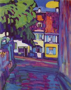 Wassily Kandinsky (Russian, Expressionism, Murnau, Houses on the Obermarkt; Oil - my favorite Kandinsky Henri Matisse, Kandinsky Art, Wassily Kandinsky Paintings, Impressionism Art, Fauvism Art, Paintings I Love, Fine Art, Art Plastique, Art Reproductions