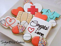 Nurse Cookies by SugarBliss Nurse Cookies, Iced Cookies, Yummy Cookies, Sugar Cookies, Cookie Frosting, Royal Icing Cookies, Cupcakes, Cupcake Cookies, Medical Cake