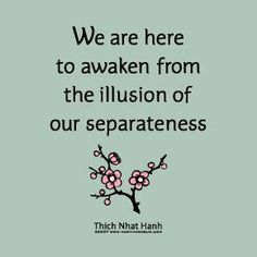 We are here to awaken from the illusion of separateness....
