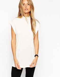 ASOS Longline Workwear Top With High Neck