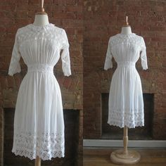 Antique Edwardian Tea Dress   1910s Cotton Lawn by GildedGypsies