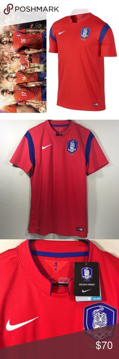 """$90 Nike DriFit Korea Football stadium Home Jersey Nike Dri-Fit Men's korea football association stadium home jersey  Retail Price: $90 USD Exclusive official 2014 World Cup stadium home jersey challenge Measurements (approximate/flat/unstretched/not doubled) pit to pit: 19""""  neck to hem: 29.25"""" Materials: 100% recycled polyester, exclusive of dec RN#56323 machine wash warm/like colors Imported  New with tags. Tiny hole in left collar, not too noticeabe since it blends in with perforation…"""