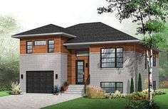 Logan Contemporary 3 bedroom Split-level house plan, kitchen with large kitchen island and a garage - W3490