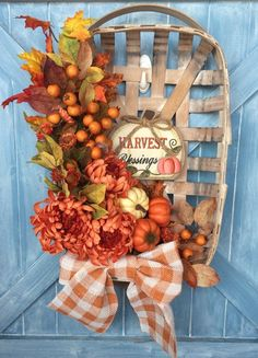 Excited to share this item from my shop: Fall Harvest Tobacco Basket Harvest Decorations, Thanksgiving Decorations, Thanksgiving Ideas, Fall Crafts, Christmas Crafts, Tobacco Basket Decor, Fall Arrangements, Christmas Baskets, Autumn Decorating