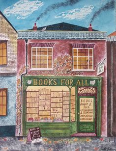 City Illustration - Heavily influenced by the old-timey feeling of her hometown in Yorkshire England, illustrator Emily Sutton often depicts adorable storefront window. Book And Coffee, English Artists, House Drawing, I Love Books, Naive, Book Illustration, Blog Design, Book Lovers, Book Art