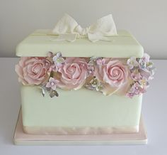 Box of Flowers | A mint gift box cake with a white lace bow.… | Flickr
