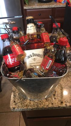 Jack Daniels honey with Coke. Jack Daniels honey with Coke. Tied tiny airplane size bottles of Jack Daniels Alcohol Gift Baskets, Liquor Gift Baskets, Gift Baskets For Him, Themed Gift Baskets, Birthday Gift Baskets, Diy Gift Baskets, Alcohol Gifts For Men, Fundraiser Baskets, Raffle Baskets