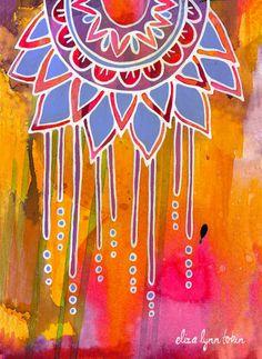 Flower Mandala Art Print - Dreamcatcher - mandala artwork, floral art, flower wall art