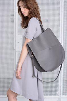Fourre-tout en cuir gris, surdimensionné sac fourre-tout, sac cabas en cuir, soyeux en cuir italien fourre-tout, sac Shopper