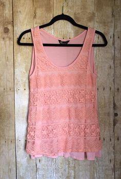 SJS Women's Pink Tank Top Knit Front, Size Large  | eBay