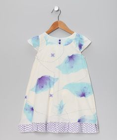 White & Blue Ambrosia Flower Dress - Toddler & Girls by Rayil on #zulily today!