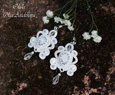 """Earrings """"White Swan"""" soutache, natural pearl, crystal and glass beads, Japanese beads, glass beads pearl, agate white sugar"""