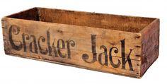 vintage-toys-cracker-jack-crate home crafts Wooden crates bookshelf room decor house Vintage Wood Crates, Wooden Crate Boxes, Old Wooden Crates, Vintage Box, Crate Paper, Vintage Music, Makeup Trends, Toy Wagon, Crate Furniture