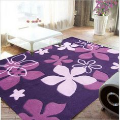 paarse woonkamer koffietafel slaapkamer tapijt tapijt met de hand gemaakte bloem acryl dekens deken
