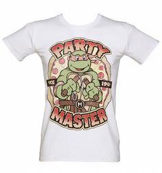 Men's White Party Master Michaelangelo Teenage Mutant Ninja Turtles T-Shirt