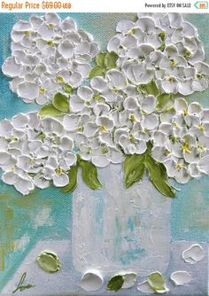 Check out this item in my Etsy shop https://www.etsy.com/listing/244698587/5-original-painting-signedwhite Palette Knife Painting, Painting Techniques, Small Paintings, Original Paintings, White Flowers, White Hydrangeas, Hydrangea Flower, Hydrangea Painting, Open Art