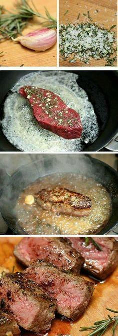 Rosemary Garlic Butter Steak. Omg so good.