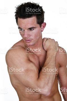 Homme avec une douleur au cou et du dos – banque photo libre de droits