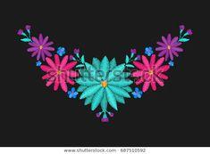 Embroidered Camomile Neckline Design Needlework Floral Stok Vektör (Telifsiz) 687510592 Needlework, Neckline, Embroidery, Floral, Design, Dressmaking, Plunging Neckline, Needlepoint, Couture