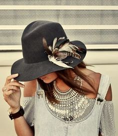 Feathers! Hat LOVE. Brown leather fedora i have...remake to look like this :D
