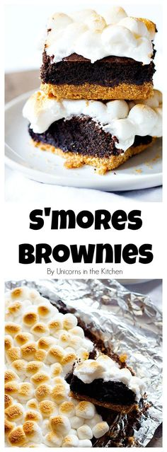 Two favorite desserts in one! Ooey Gooey S'mores Brownies are going to be your new favorite. Delicious graham cracker crust topped with brownie batter and finished with ooey gooey marshmallows. What's not to like?