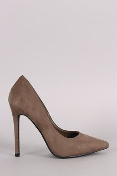 This classic pump features a pointy toe silhouette, scoop vamp, single sole, and wrapped stiletto heel. Finished with a lightly padded insole and easy slide style. Material: Vegan Suede (man-made) Sol