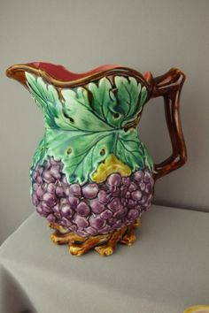 French majolica rare Nimy grape pitcher with vine base, based on the English T.C. Brown Westhead Moore & Co. model of the 1860's.