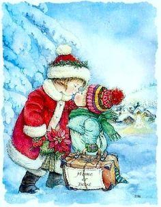 by Spanish artist and illustrator - Lisi Martin Christmas Tale, Christmas Music, Vintage Christmas Cards, Christmas Pictures, Vintage Cards, Vintage Postcards, Xmas, Illustration Noel, Christmas Illustration