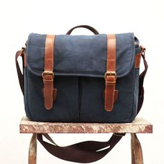 4c7ff2a3fe0f Gouache Waxed Canvas Camera Bag (Navy Blue) by qamaycreations. Explore more  products on
