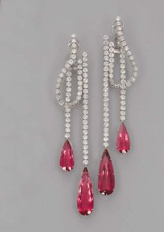 A PAIR OF RUBELLITE TOURMALINE AND DIAMOND EAR PENDANTS, BY MICHELE DELLA VALLE Each designed as two pear-shaped rubellite tourmalines each suspended from a line of brilliant-cut diamonds to the central brilliant-cut diamond hoop, mounted in 18k white gold