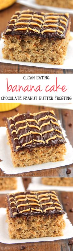 Clean-Eating Banana Cake with Fudgy Chocolate Peanut Butter Swirl Frosting -- guilt-free & so tender! This is the BEST frosting I've ever had!