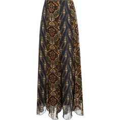 Anna Sui Printed Maxi Skirt ($215) ❤ liked on Polyvore featuring skirts, saias, black, multicolor, draped maxi skirt, vintage maxi skirt, patterned skirts, maxi skirt and vintage print skirt