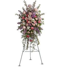Immediate family Funeral Flower Etiquette. Irene: flowers adorning the urn or focal floral piece. Children: Standing sprays (placed on either side of urn?) Grandchildren: single piece to represent them both.