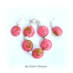 Pink Swirl Bracelet and Earrings Set £12.00