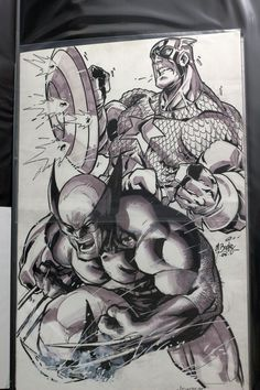 Wolverine and Captain America by Mark Brooks Comic Art