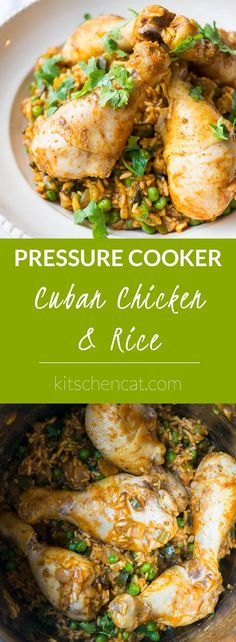 Pressure Cooker Cuban Chicken and Rice is an aromatic one pot mixture of peppers, onion, tomato sauce, and spices cooked with juicy drumsticks.