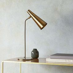 For a super slick style - this Clanger desk lamp is pure sculputural form and would look razor sharp in any home office or home office corner with a leaning. Two colour options, brass and racing green. Bedroom Lamps, Bedroom Lighting, Pooky Lighting, Car Interior Decor, Interior Design, Design Apartment, Task Lamps, Desk Light, Green Rooms