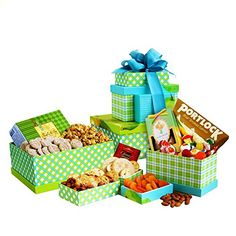Authentic Savory Gourmet Gift Tower   Smoked Salmon, Cheese, Crackers, Almonds and More, ,
