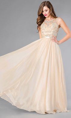 a020998d7 Long Plus-Size Formal Dress with Beaded Bodice