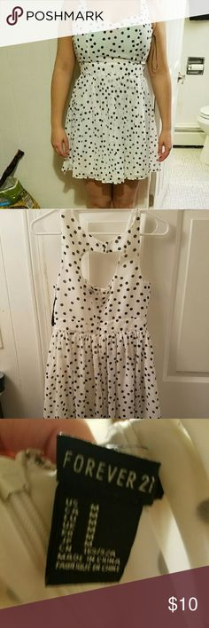 Forever 21 polka dot dress White dress with black polka dots. Worn once, in very good condition. Forever 21 Dresses Mini